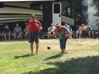 Melanie intent on winning at Bocce Ball