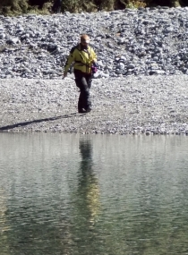 Melanie across the Makarora River at the Blue Pools