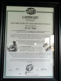 Laphroaig Scotch certificate