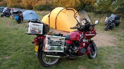 """Bernard Smith's BMW. Author of """"A Blind Woman, Two Wheels and 25,000 miles""""."""