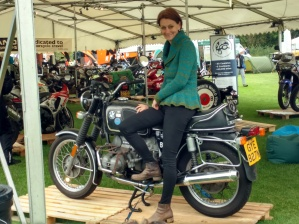 Elspeth Beard with her motorbike.